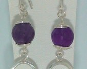 Faceted Amethyst Hammered Oval Dangle Earrings Sterling Silver