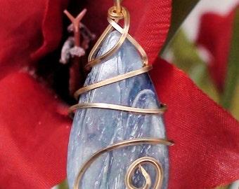 14K Wire Wrapped Freeform Kyanite Teardrop Pendant Necklace