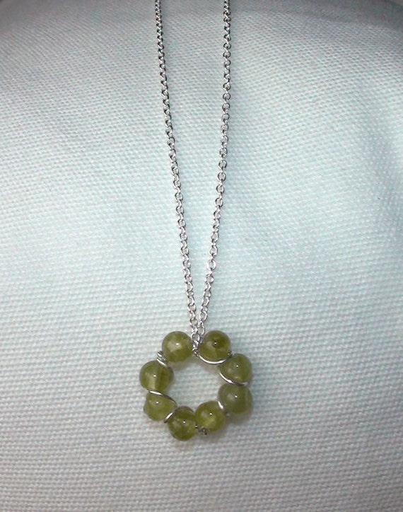 Dainty Peridot  Bead and Sterling Wire Circle Necklace