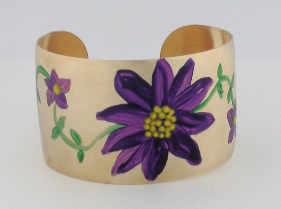 Hand Painted Bracelet - Purple Flower -  Brass Cuff - flower bracelet - Wide Cuff Bracelet