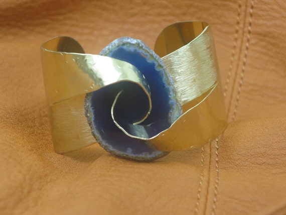 Hammered Textured Brass Blue Agate Slice Abstract  Wide Cuff Bracelet