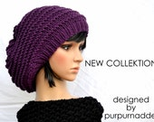 NEW COLLEKTION Super cool Chunky Purple Hat,knitted Merinowool