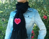 RESERVED for Kosmika - Deposit for custom order - The Love Scarf - Black knitted scarf with heart brooch