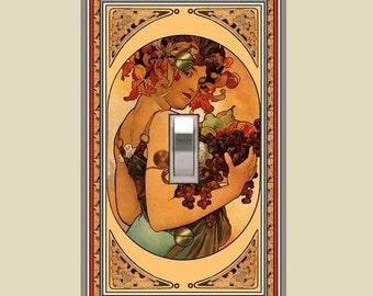 Art nouveau mucha fruit girl switch plate  765-t1