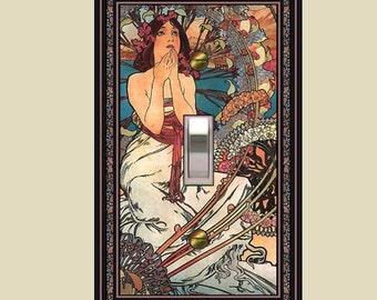 Art nouveau mucha switch plate - monaco girl design  1432-t1
