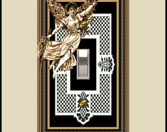 gingham angel design switch plate  313a-t1