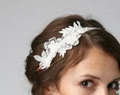 Vintage lace trim bridal headband on off white silk ribbon ties
