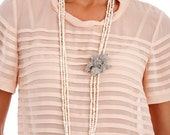 112 - Long Fresh Water Pearl Necklace with Encrusted Lily