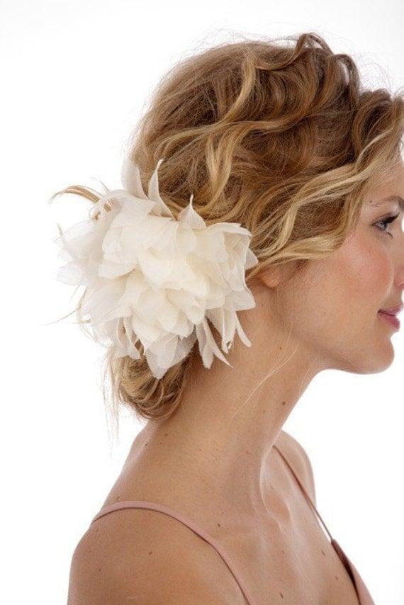 037 - JENNA - Wild Silk Chiffon Dahlia, flower, bridal, hair, fascinator, headpiece, clip