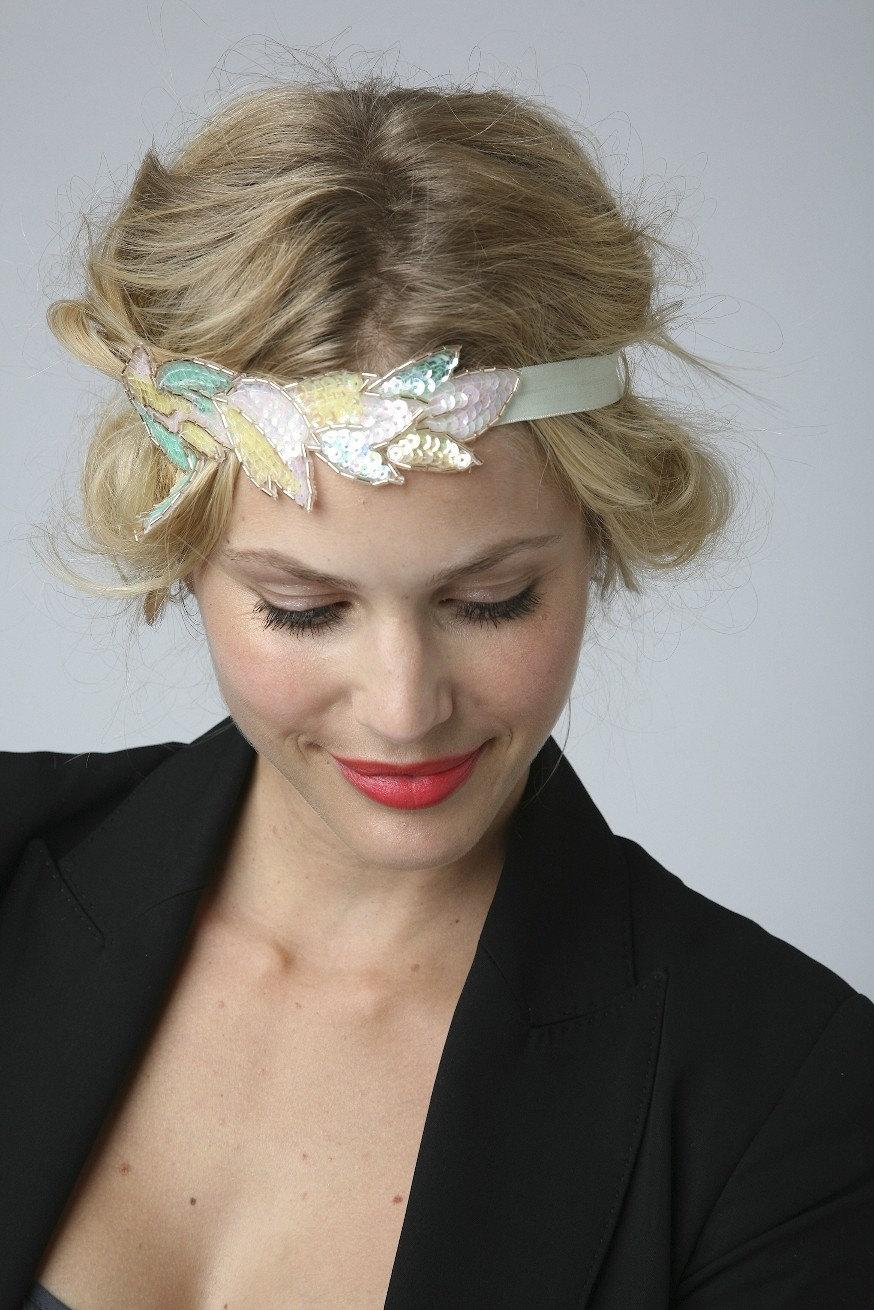 sherbert sequin leaf applique headband or halo. Black Bedroom Furniture Sets. Home Design Ideas