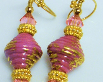 On SALE-Raspberry Kiss-Earring set with Lampwork beads, Vermeil gold and Swarovski crystals-On SALE