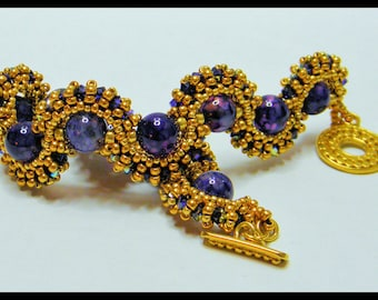 SALE-Queen Amethyst   -Bracelet with  Amethyst  Gems, Swarovski crystals and seed beads