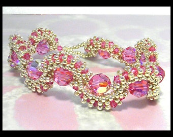 SALE-Pink Dreams- Bracelet with Swarovski crystals and seed beads-SALE