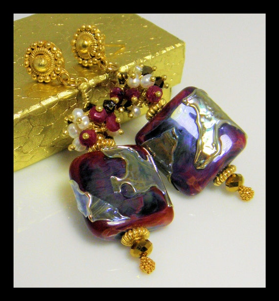 Ruby-Lampwork beads Earring set with fresh water Pearls, Ruby Gems and Vermeil Gold