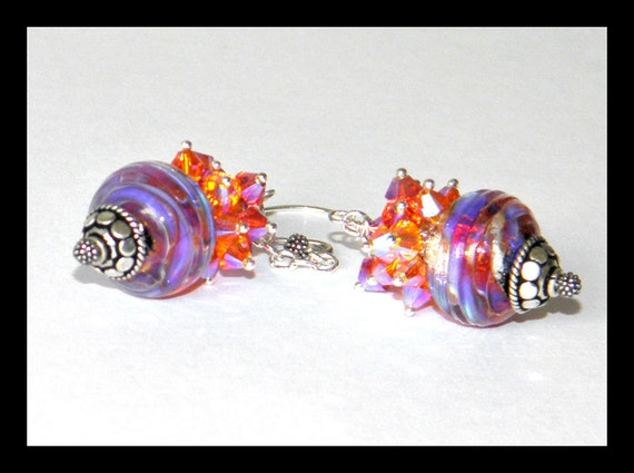 Venus - Lampwork beads Earring set with a Cluster of Swarovski Crystal and Sterling silver