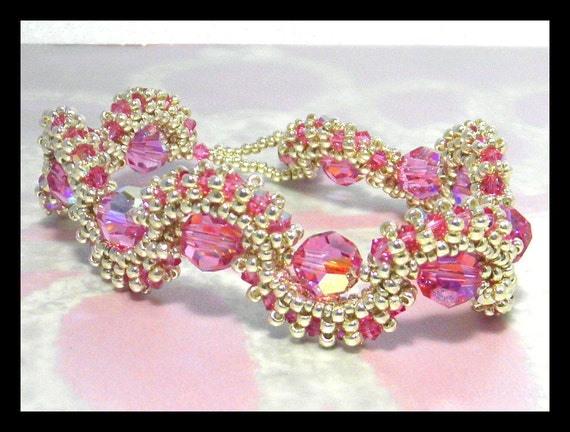 Pink Dreams- Bracelet with Swarovski crystals and seed beads, Christmas Gift,Handstiched,