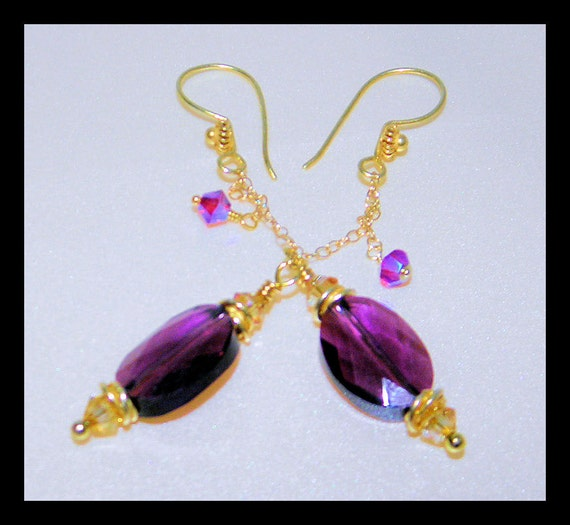 Earrings with Gorgeous Swarovski Crystal Stones and Vermeil gold, Purple Earrings, Christmas Gift,