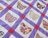 BUTTERFLIES Vintage 30s quilt top applique