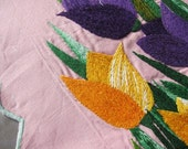 Tulips1950s cushion cover hand embroidered