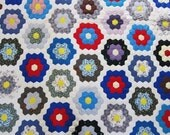 Vintage,  antique quilt,  30s 40s,  Grandmothers Garden, hexagons,  vivid and fresh