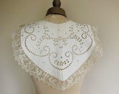 Antique collar, white work, cut work, net lace 100 years old.