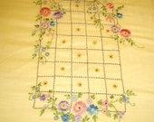Antique vintage 20s embroidered  bedspread Summer Garden