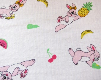 Vintage novelty cotton , fabric 40s , juvenile cotton,  rabbits and fruit,vintage dressmaking. 1940s cotton