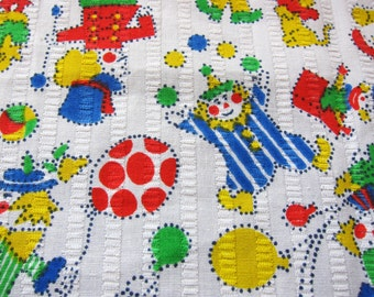 CIRCUS cotton fabric , 1950s  cotton, vintage dressmaking, juvenile primary colours, clowns, novelty cotton