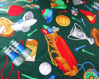 American SPORTS quilting COTTON fabric golf fishing hunting football