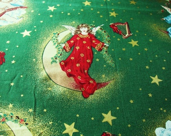 vintage Christmas quilting cotton,  Angels in the sky,  Over 3 yards, holiday cotton, holiday crafts, angel cotton, Christmas fabric