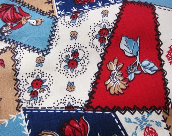 Vintage fabric CRAZY QUILT  cotton 5 yards cheater cloth 60s