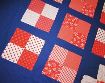 quilt top , unfinished quilt, vintage patchwork, RED WHITE and BLUE , 1960s fabric, boho decor, festival tent