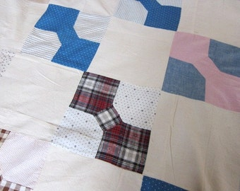 Antique primitive quilt top, patchwork blocks,  bow tie, 100 years old,