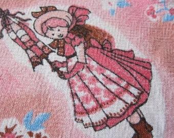 Vintage barkcloth,  novelty fabric, barkcloth pillowcase ,  juvenile 1950s, 50s decor, girls room