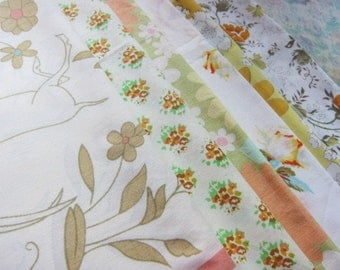 Lot vintage pillowcase YELLOW  gold floral retro 6