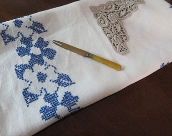 Hand embroidered  Vintage linen tablecloth 40s BLUE  with lace inserts, vintage decor, blue floral cloth,