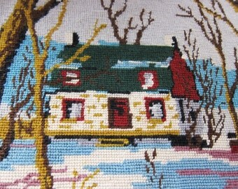 vintage needlepoint WINTER 1950s, hand made tapestry. farmhouse pillow,