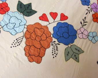 Antique  Summer bedspread 1930s colorful applique large