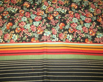 vintage fabric 50s cotton border print  5 yards floral and stripes