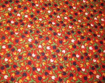 TULIP vintage cotton fabric miniature tulips