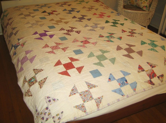 antique quilt  1930s scrappy shoo fly