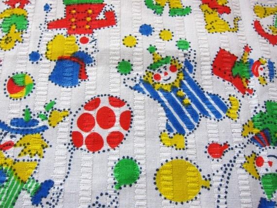 CIRCUS cotton fabric 1950s juvenile primary colours, clowns, novelty cotton
