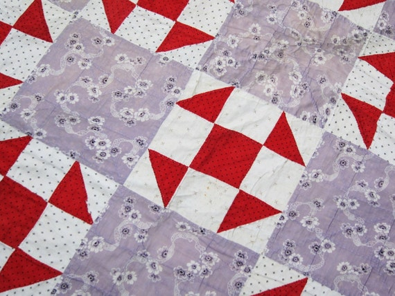 Antique quilt 19th century lovely fabrics