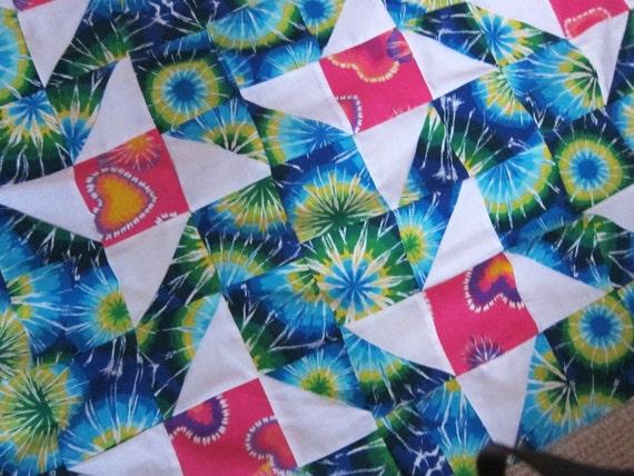 Vintage quilt top tropical 80s