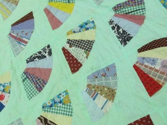Nile Green Vintage quilt  fans 60s 70s
