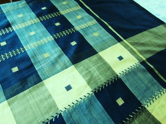 silk sari woven teal and cream check 70s