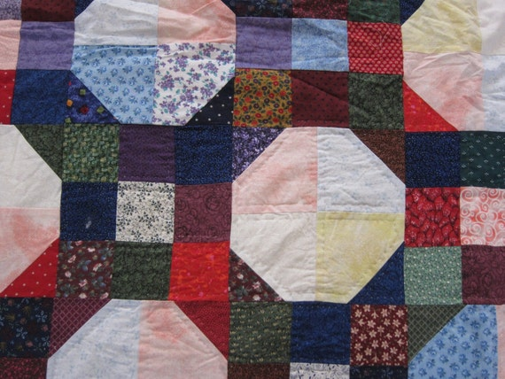Bold and beautiful unfinished quilt 80s snowball
