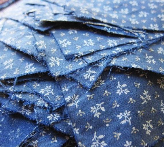antique primitive indigo resist  cotton pieces 1800s