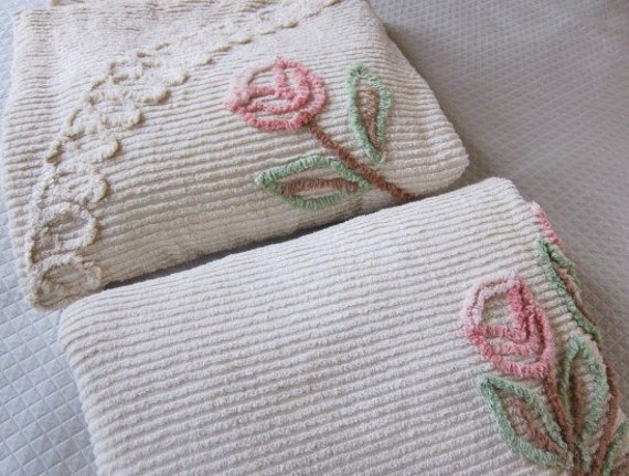 Pair vintage chenille bedspread 2 matching floral cream
