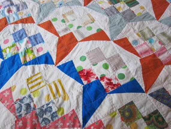 Vintage patchwork quilt posy blocks 1940s